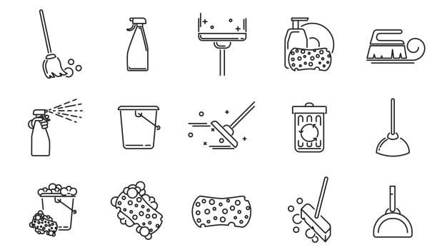 stockillustraties, clipart, cartoons en iconen met schoonmaak service lineaire pictogrammen instellen. - emmer
