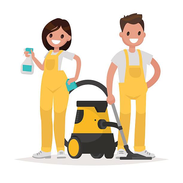 stockillustraties, clipart, cartoons en iconen met cleaning service. man and woman dressed in uniform on isolated - vrouw schoonmaken