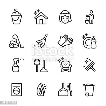16 line black on white icons / Set #58 Cleaning Service / Pixel Perfect Principle - all the icons are designed in 48x48pх square, outline stroke 2px.  First row of outline icons contains:  Bucket icon, Shiny House, Maid, Throw Waste icon;  Second row contains:  Vacuum Cleaner, Broom, Protective Glove, Dishwashing Liquid;  Third row contains:  Spray Bottle, Toilet Brush and Plunger, Furniture Cleaning, Squeegee;   Fourth row contains:  Washing Machine, Iron-Appliance, Dustpan and Scrubbing Brush, Garbage Bin.  Complete Inlinico collection - https://www.istockphoto.com/collaboration/boards/2MS6Qck-_UuiVTh288h3fQ