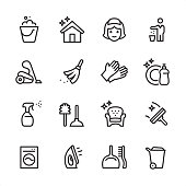 16 line black on white icons / Set #58 Cleaning Service /\nPixel Perfect Principle - all the icons are designed in 48x48pх square, outline stroke 2px.\n\nFirst row of outline icons contains: \nBucket icon, Shiny House, Maid, Throw Waste icon;\n\nSecond row contains: \nVacuum Cleaner, Broom, Protective Glove, Dishwashing Liquid;\n\nThird row contains: \nSpray Bottle, Toilet Brush and Plunger, Furniture Cleaning, Squeegee; \n\nFourth row contains: \nWashing Machine, Iron-Appliance, Dustpan and Scrubbing Brush, Garbage Bin.\n\nComplete Inlinico collection - https://www.istockphoto.com/collaboration/boards/2MS6Qck-_UuiVTh288h3fQ
