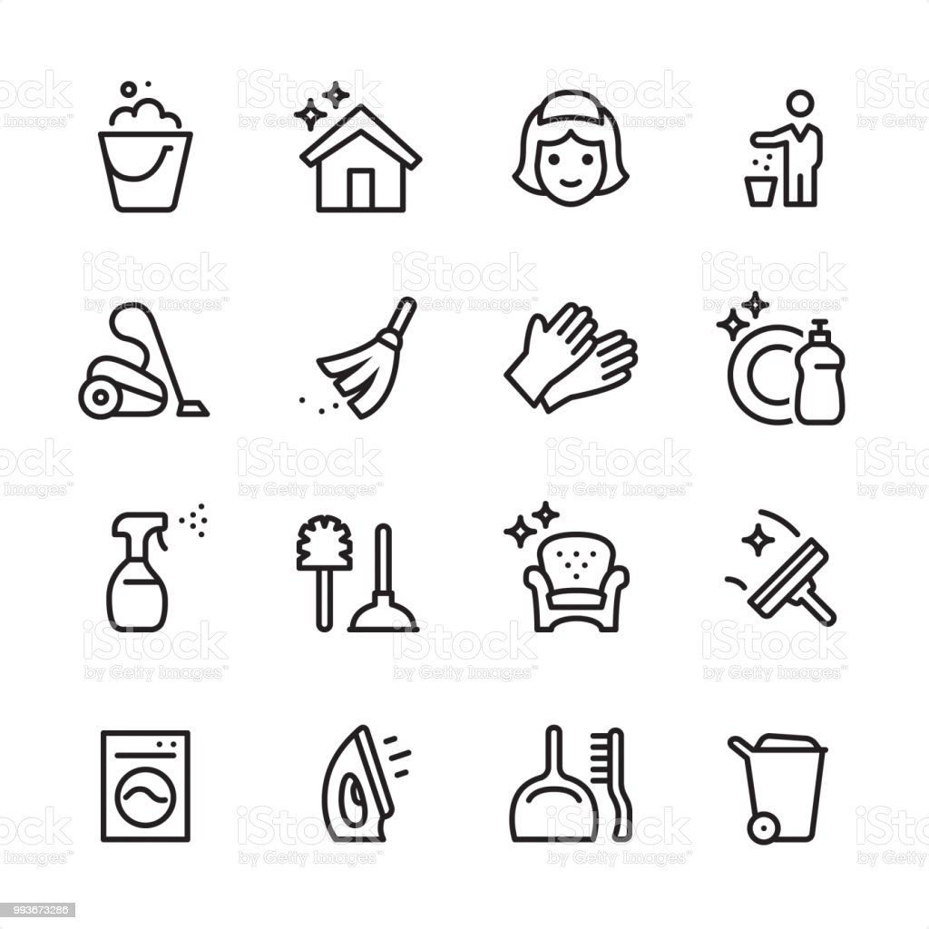 Cleaning Service - outline icon set vector art illustration