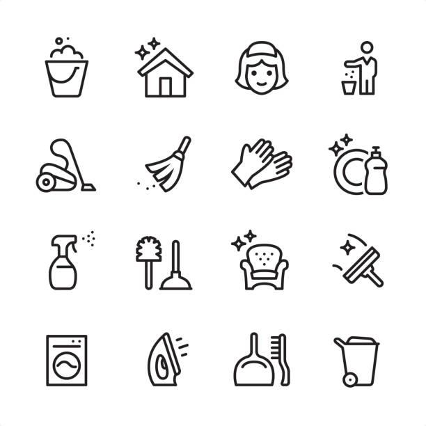 temizlik hizmeti - anahat icon set - cleaning stock illustrations