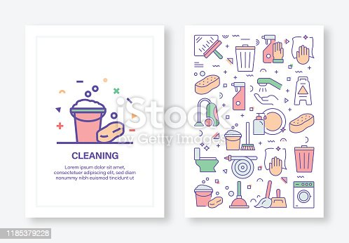 Cleaning Service Related Concept Line Style Cover Design for Annual Report, Flyer, Brochure.