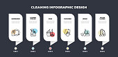 Cleaning Service Related Line Infographic Design