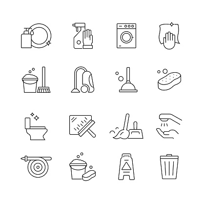 Cleaning Service Related - Set of Thin Line Vector Icons