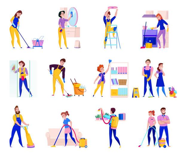 stockillustraties, clipart, cartoons en iconen met schoonmaak service set - vrouw schoonmaken