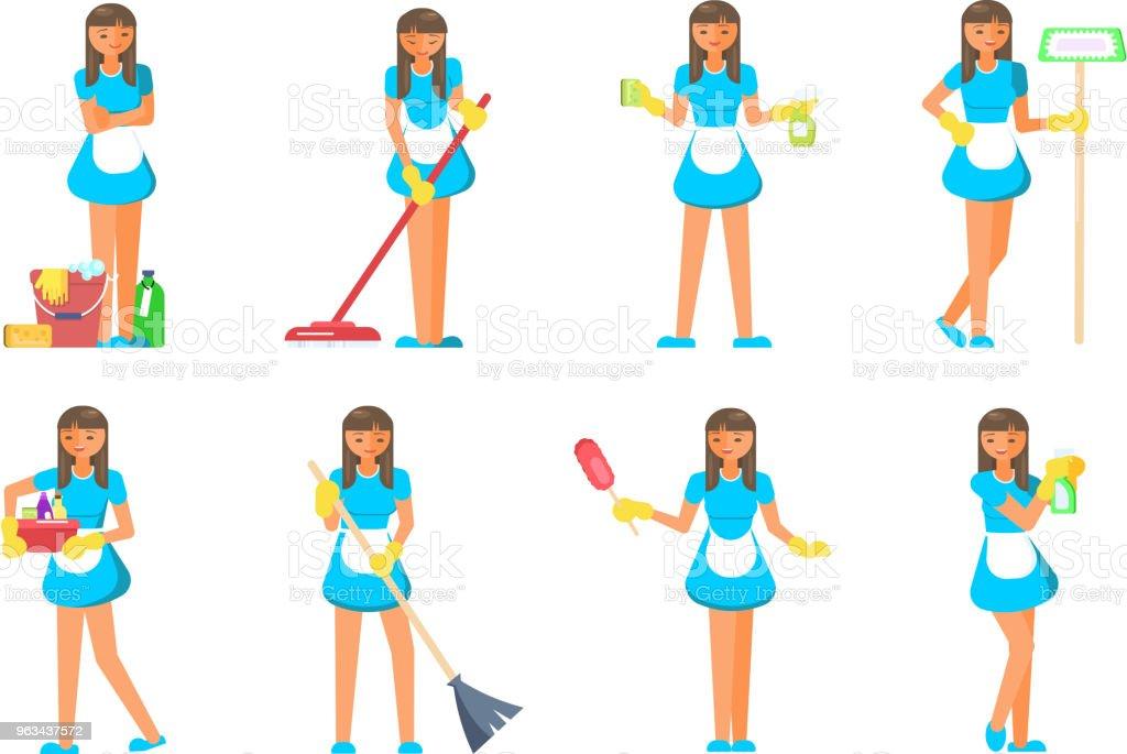Personnages de personnel de service de nettoyage - clipart vectoriel de Adulte libre de droits