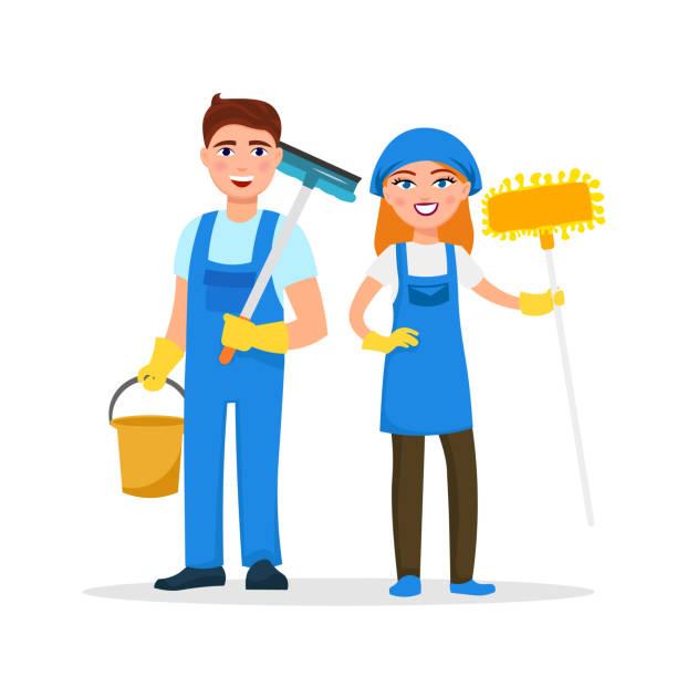 白い背景で隔離の漫画のキャラクターを笑顔のサービス スタッフをクリーニングします。家の掃除はフラット スタイルで制服のベクトル図に身を包んだ。可愛くて元気な労働者概念の清掃します。 - 楽しい 洗濯点のイラスト素材/クリップアート素材/マンガ素材/アイコン素材