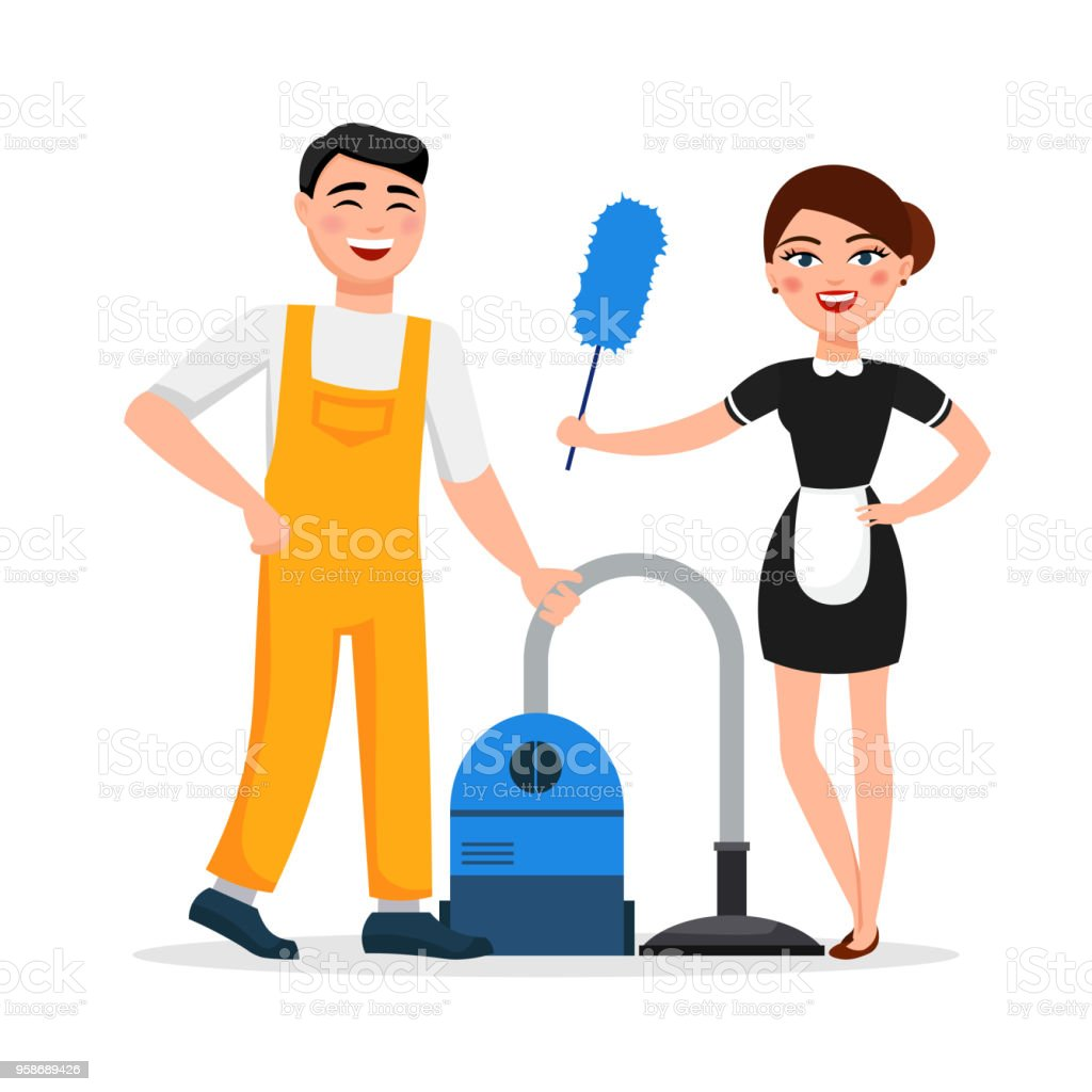 cleaning service staff smiling cartoon characters isolated