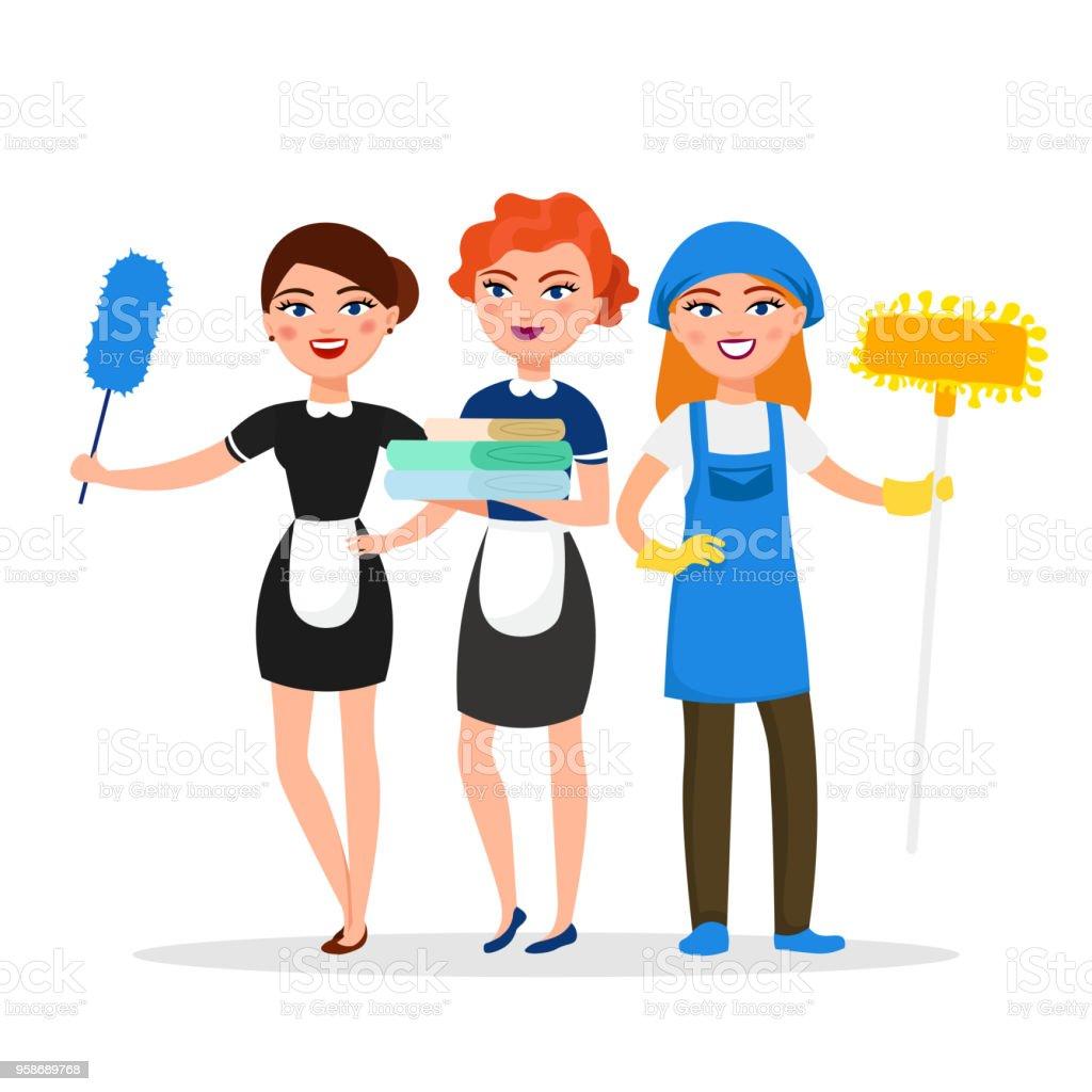 Ilustraci n de limpieza personal sonriente personajes de - Imagenes de limpieza de casas ...