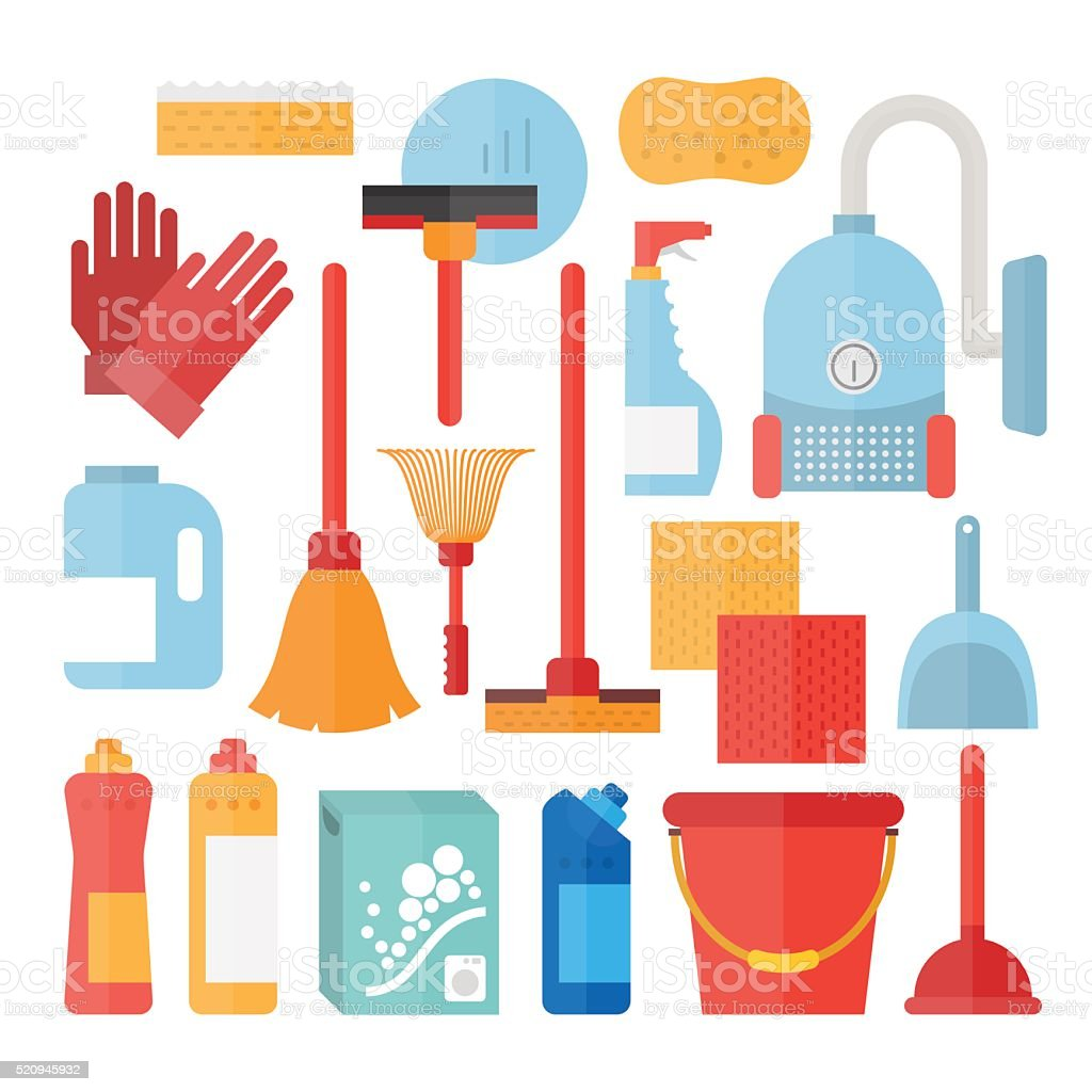 Cleaning service supplies vector art illustration