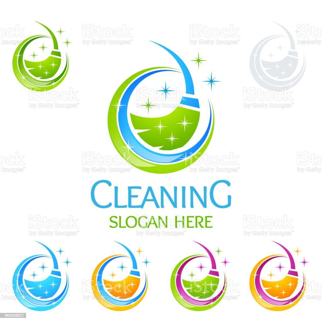 清潔服務向量設計, 生態友好的室內、住宅和建築概念 - 免版稅乾淨圖庫向量圖形