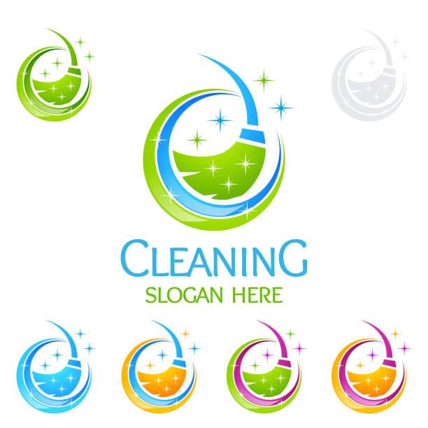 illustrazioni stock, clip art, cartoni animati e icone di tendenza di cleaning service vector design, eco friendly concept for interior, home and building - cameriera