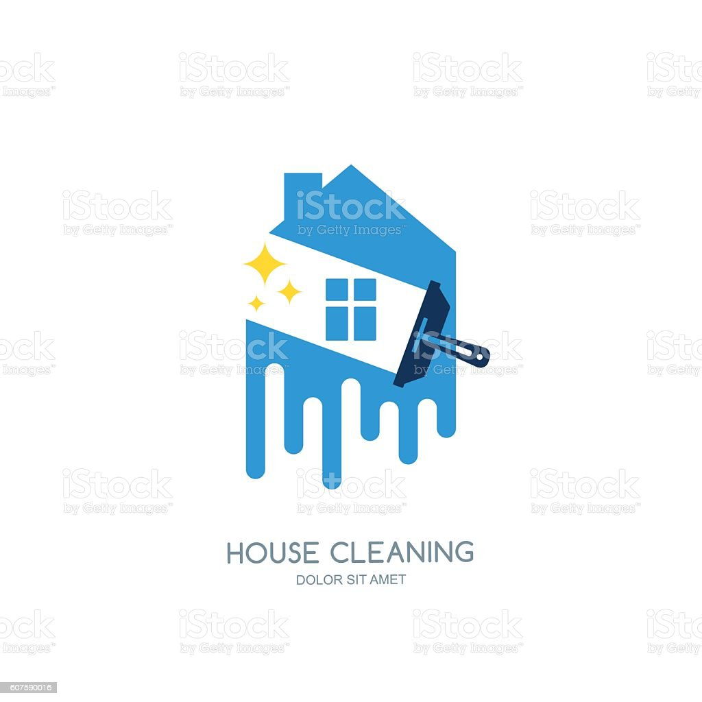 Cleaning service vector emblem or icon design template.