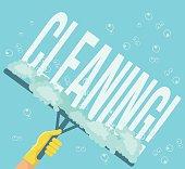 Cleaning service. Vector flat cartoon illustration