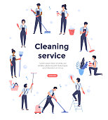 Cleaning service team working, concept illustration with professionals, web page design template, vector banner