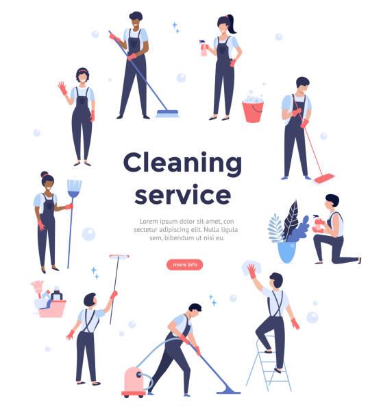 stockillustraties, clipart, cartoons en iconen met schoonmaakservice. - opruimen