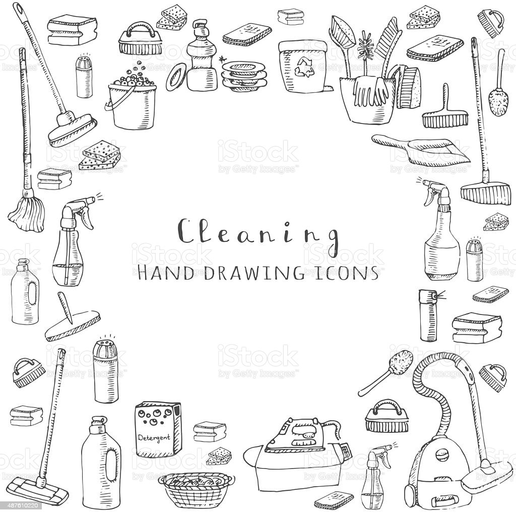 Cleaning service vector art illustration