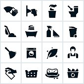 Cleaning services related icons. The icons show several cleaning situations from wiping to vacuuming, to washing, rowing laundry and maid services.