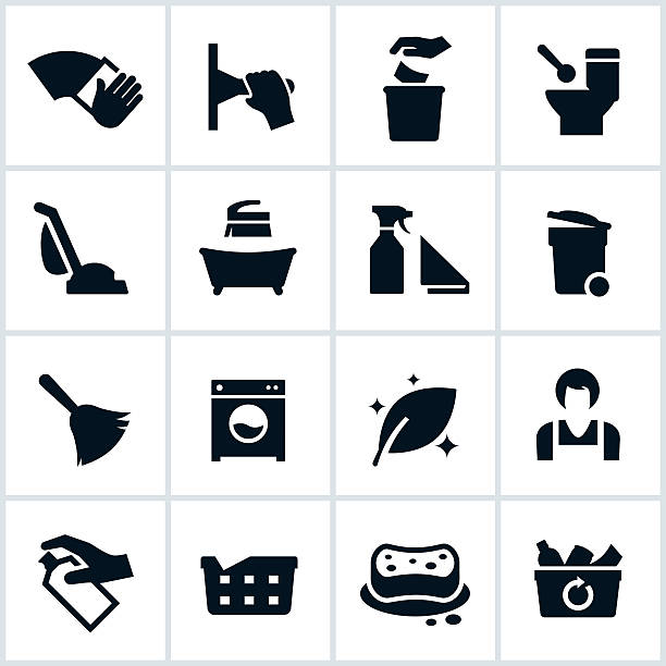 Cleaning Services Icons Cleaning services related icons. The icons show several cleaning situations from wiping to vacuuming, to washing, rowing laundry and maid services. laundry basket stock illustrations