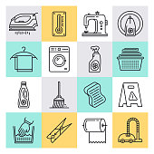 Cleaning services industry outline style concept with symbols. Line vector icon sets for infographics and web designs.