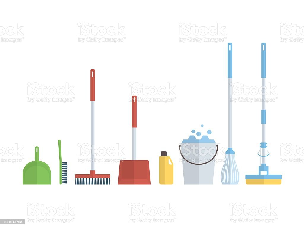 Cleaning set, isolate, flat design vector art illustration