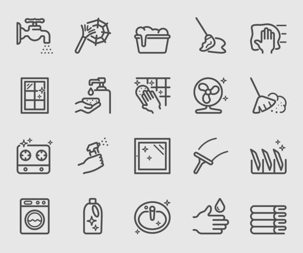 reinigungs set liniensymbol - fenster putzen stock-grafiken, -clipart, -cartoons und -symbole