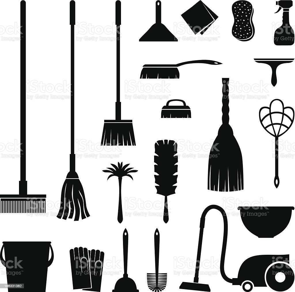 Cleaning set vector art illustration