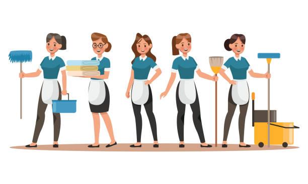 stockillustraties, clipart, cartoons en iconen met schoonmaak personeel tekens ontwerp. gelukkig schoonmaken. schoonmaak bedrijf vector conceptontwerp. - vrouw schoonmaken
