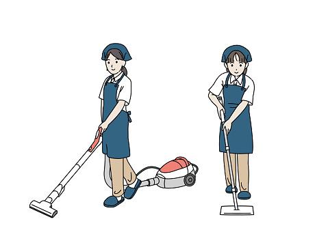 Cleaning staff women illustration