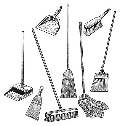 Cleaning Supplies, Broom, Mop, Dustpan