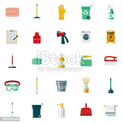 A set of 25 cleaning flat design icons on a transparent background. File is built in the CMYK color space for optimal printing. Color swatches are Global for quick and easy color changes.