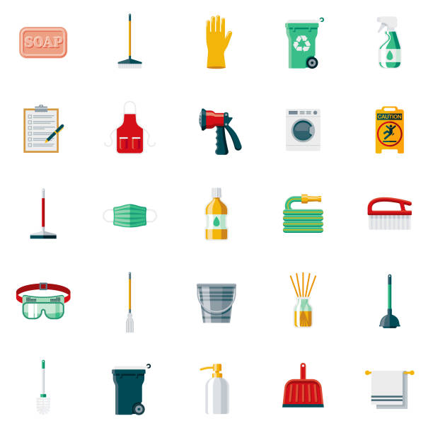 illustrations, cliparts, dessins animés et icônes de nettoyage fournitures design plat icon set - raclette
