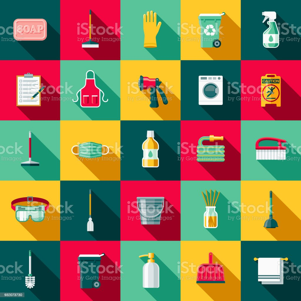Cleaning Supplies Flat Design Icon Set with Side Shadow vector art illustration