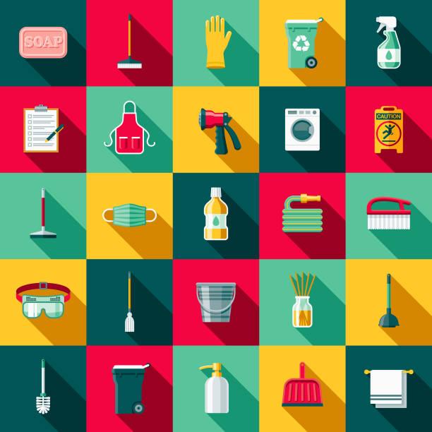 ilustrações, clipart, desenhos animados e ícones de conjunto de ícones de design plano de suprimentos com sombra do lado de limpeza - afazeres domésticos