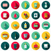 A set of flat design styled housekeeping and cleaning supplies icons with a long side shadow. Color swatches are global so it's easy to edit and change the colors.