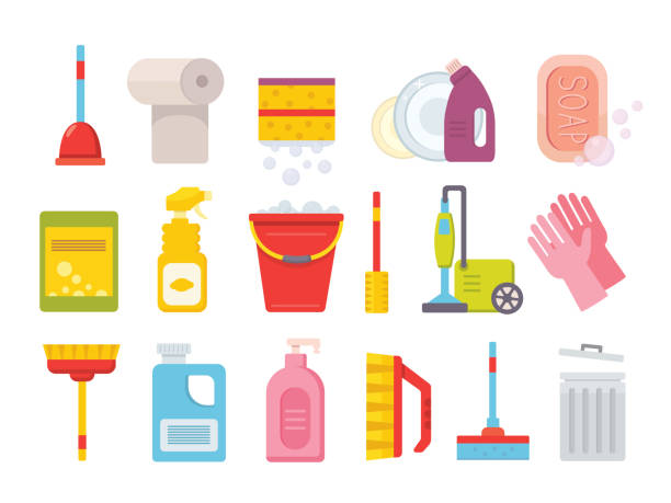 cleaning supplies. home clean tools. brush, bucket window wipes and chemicals tool vector isolated set - disinfectant stock illustrations