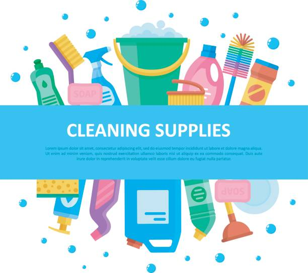cleaning supplies set with central lettering - disinfectant stock illustrations