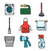 Cleaning Supplies Thin Line Icon Set