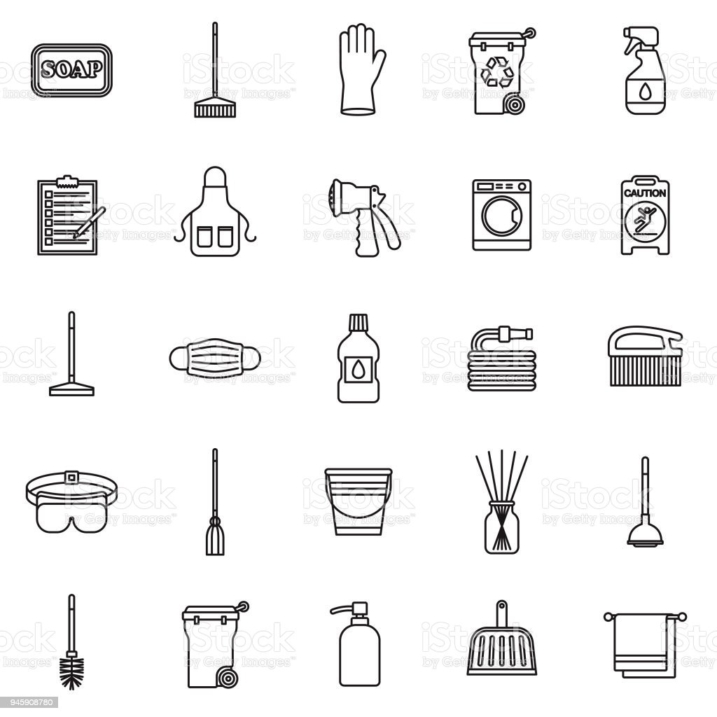 Cleaning Supplies Thin Line Icon Set vector art illustration