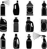 Vector icons of cleaning supplies and plastic bottles.