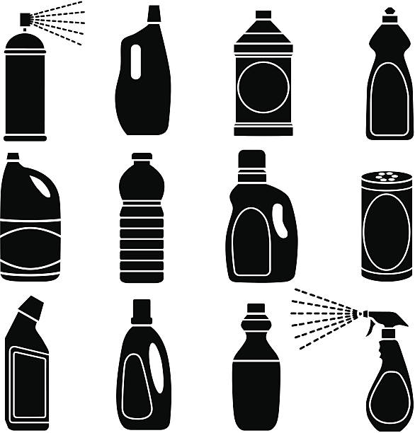 cleaning supplies Vector icons of cleaning supplies and plastic bottles. aerosol can stock illustrations