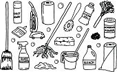 A black and white collection of cleaning supplies and equipment.