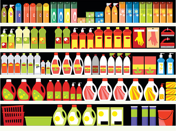Cleaning supplies Household supplies aisle in the supermarket, shelves filled with cleaning products, ESP 8 vector background grocery aisle stock illustrations