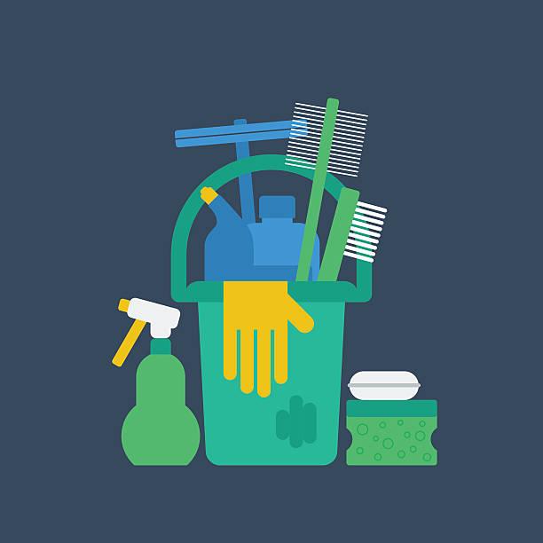 stockillustraties, clipart, cartoons en iconen met cleaning supplies - opruimen