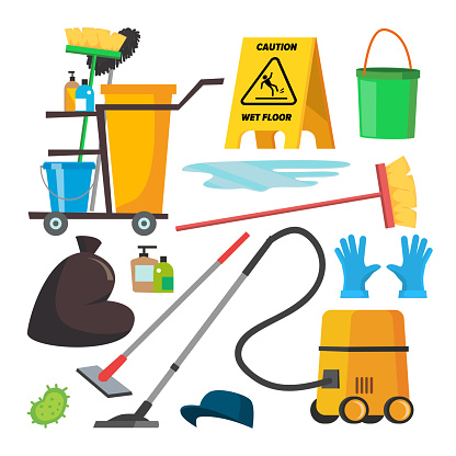 Cleaning Supplies Vector. Professional Commercial Cleaning Equipment Set. Cart, Vacuum Cleaner. Isolated Flat Illustration