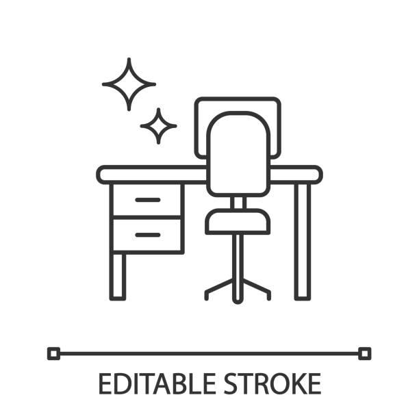 reinigungstisch-schreibtisch-symbol - schreibtisch stock-grafiken, -clipart, -cartoons und -symbole