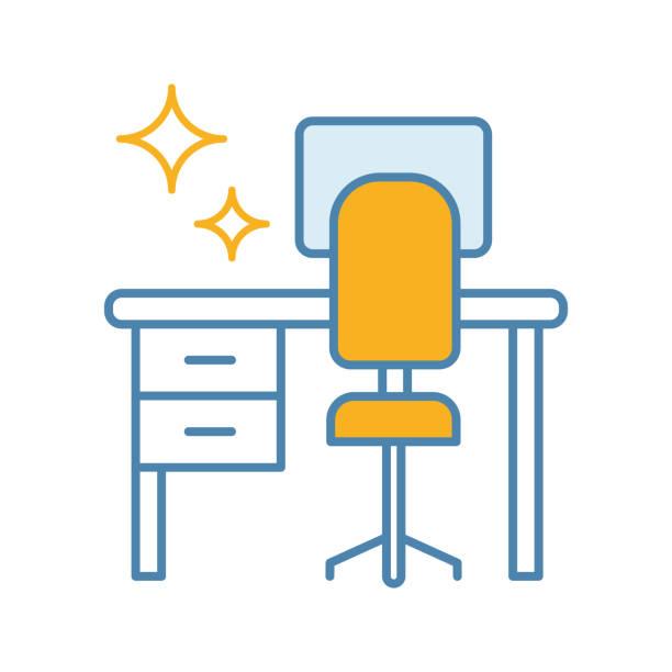 stockillustraties, clipart, cartoons en iconen met reiniging tabel bureau icoon - opruimen