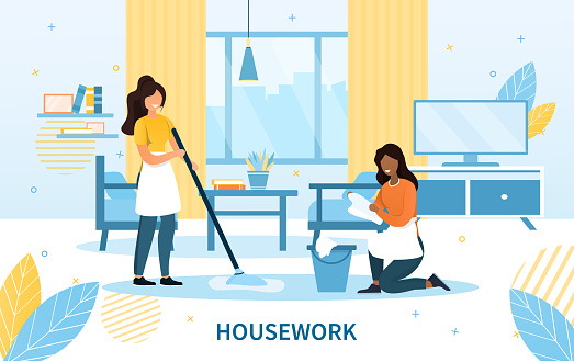 Cleaning team with two maids in aprons