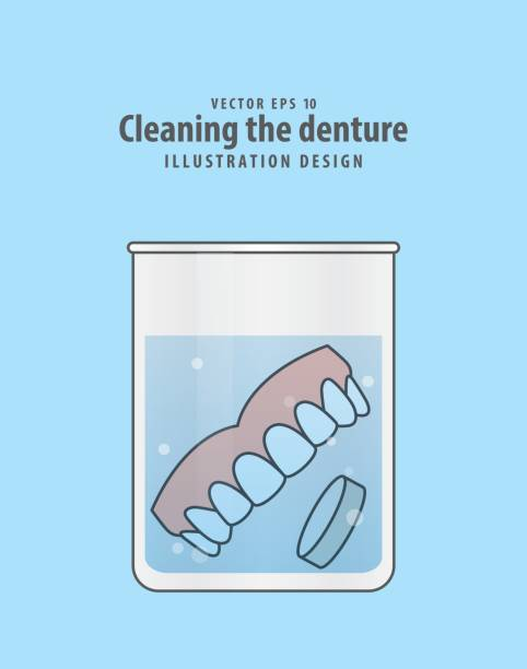 Cleaning the denture illustration vector on blue background. Dental concept. vector art illustration